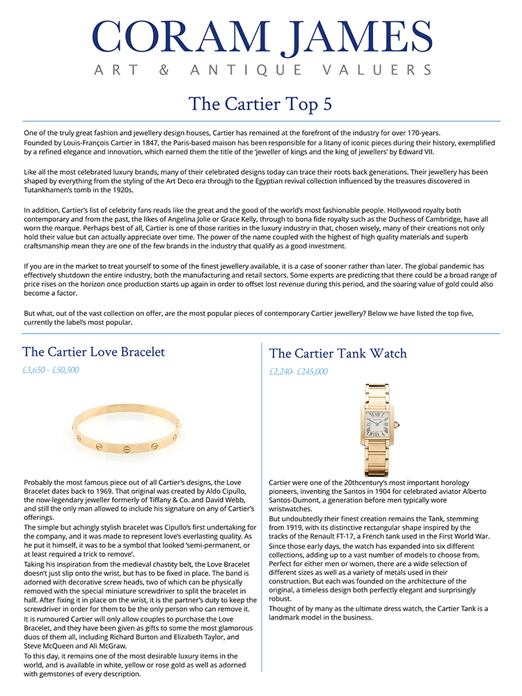 Coram James - The Cartier Top 5
